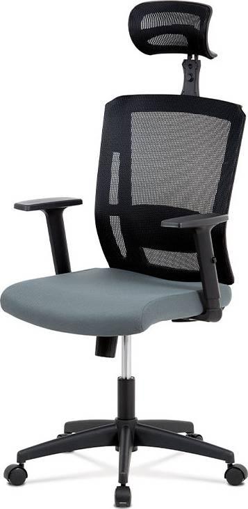 Kancelářská židle, houpací mechanismus, šedá látka, plastový kříž, plastová kolečka KA-B1076 GREY Art