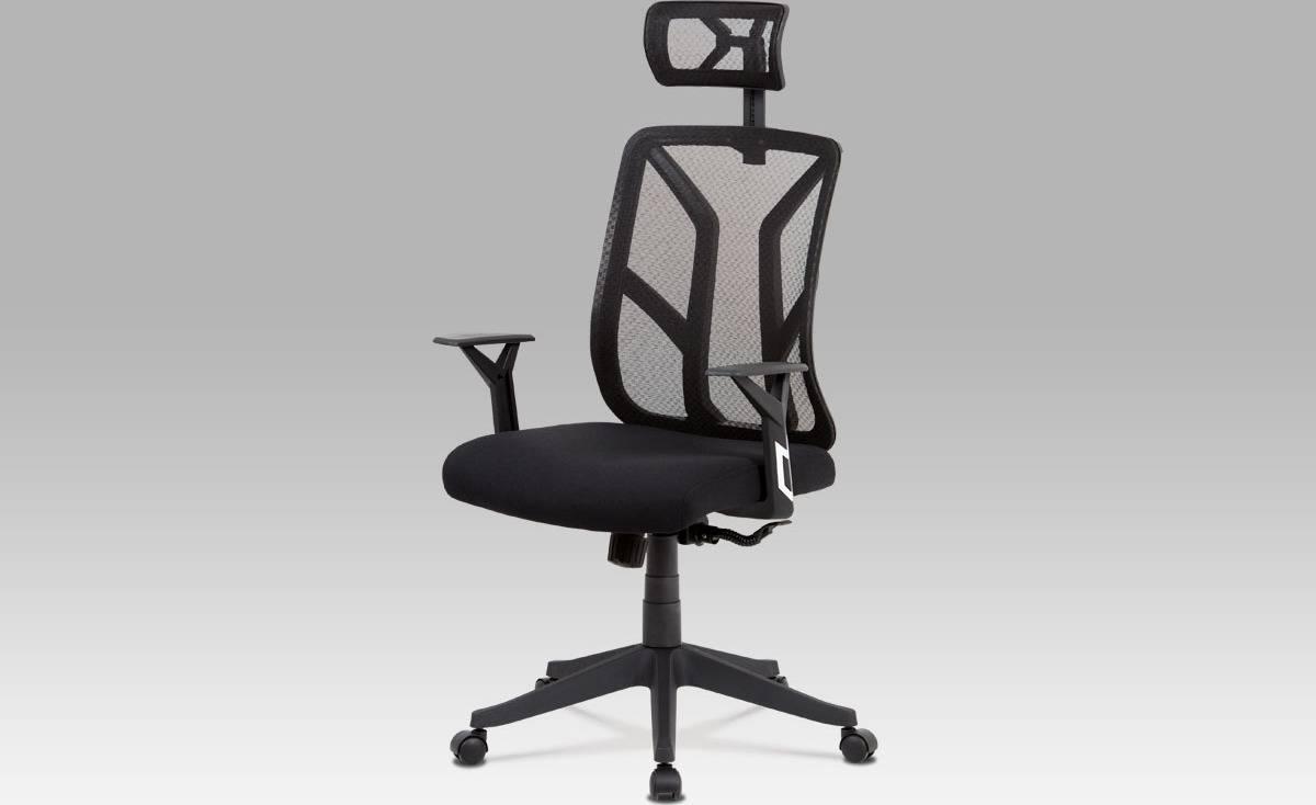 Kancelářská židle, černá mesh, plastový kříž, synchronní mechanismus KA-C837 BK Art
