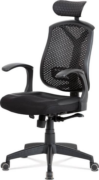 Kancelářská židle, synchronní mech., černá MESH, plastový kříž KA-D705 BK Art