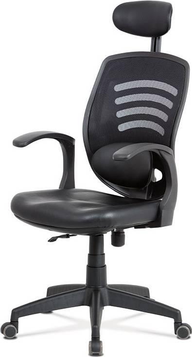 Kancelářská židle, permanent kontakt mech., černá koženka, plastový kříž KA-D706 BK Art