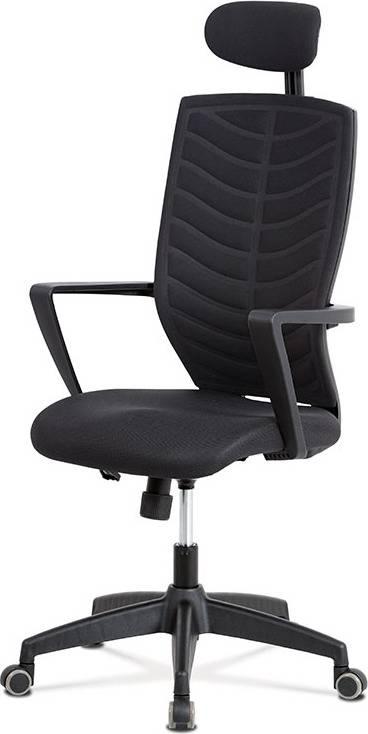 Kancelářská židle, houpací mech., černá MESH+látka, plastový kříž KA-D707 BK Art