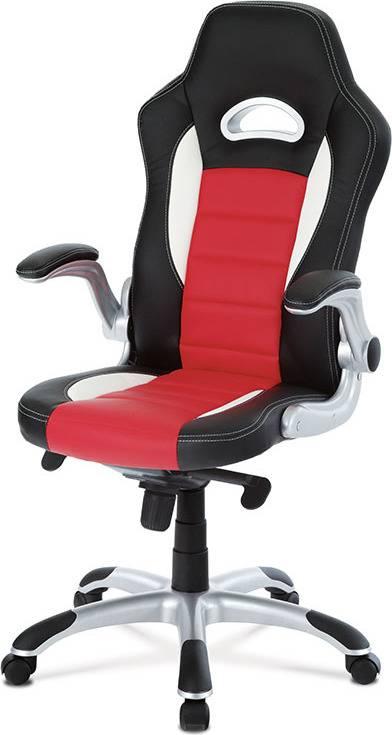 Kancelářská židle, černo-červená koženka, synchronní mech. / plast kříž KA-E240B RED Art