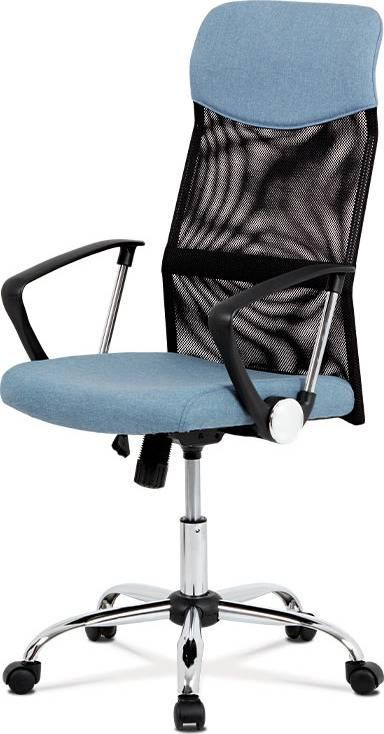 Kancelářská židle, houpací mech., modrá látka + černá MESH, kovový kříž KA-E301 BLUE Art