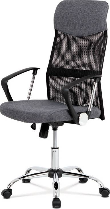 Kancelářská židle, houpací mech., šedá látka + černá MESH, kovový kříž KA-E301 GREY Art