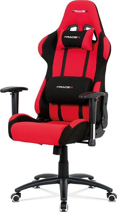 Kancelářská židle houpací mech., červená látka, kovový kříž KA-F01 RED Art