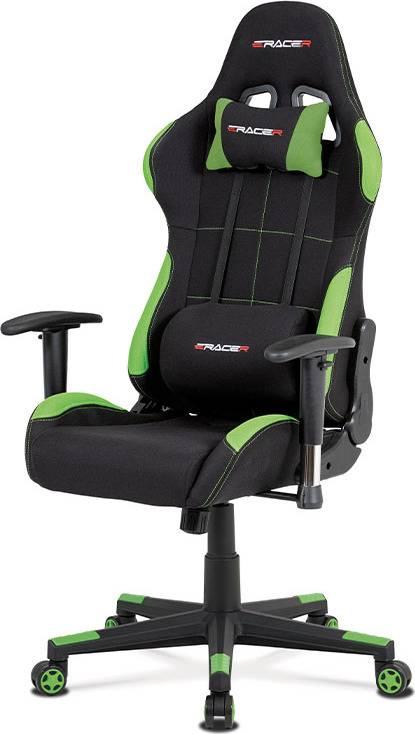 Kancelářská židle, houpací mech., černá + zelená látka, plastový kříž KA-F02 GRN Art