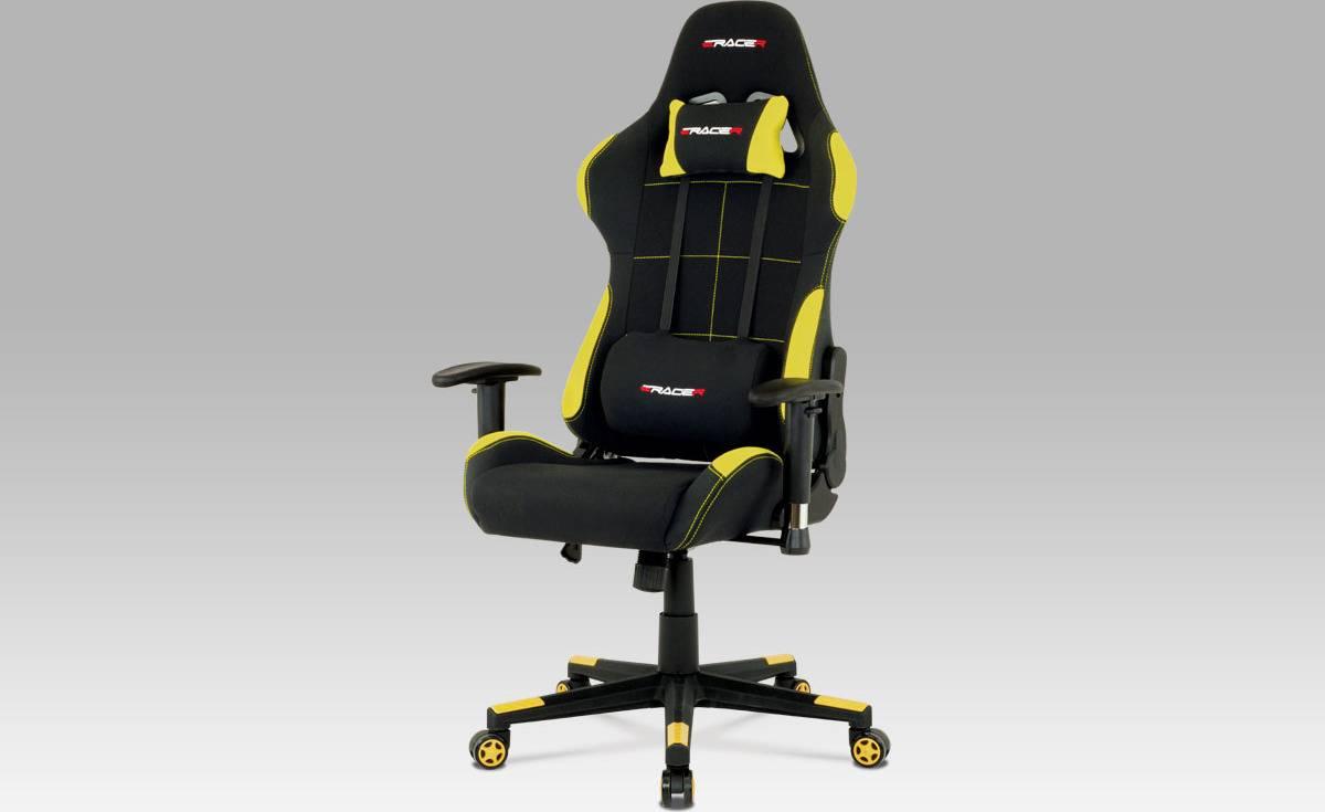 Kancelářská židle, houpací mech., černá + žlutá látka, plastový kříž KA-F02 YEL Art