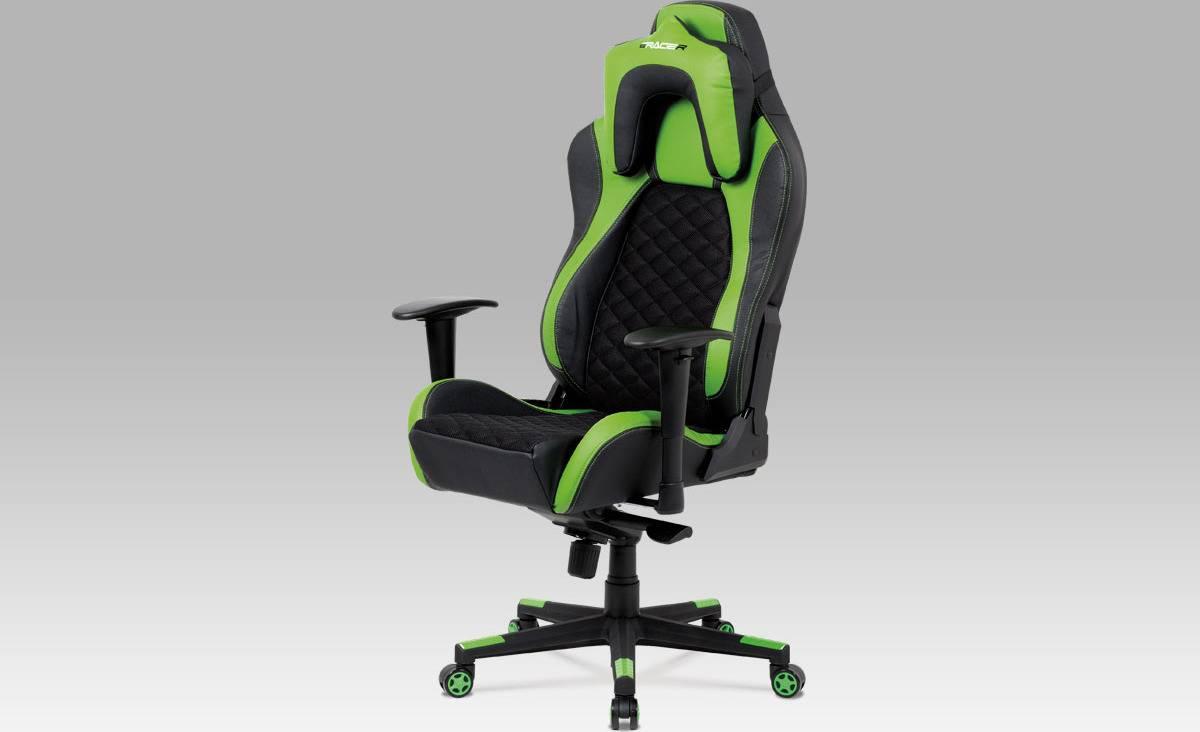 Kancelářská židle, synchronní mech., černá MESH + koženka zelená / černá, plast. kříž KA-F04 GRN Art