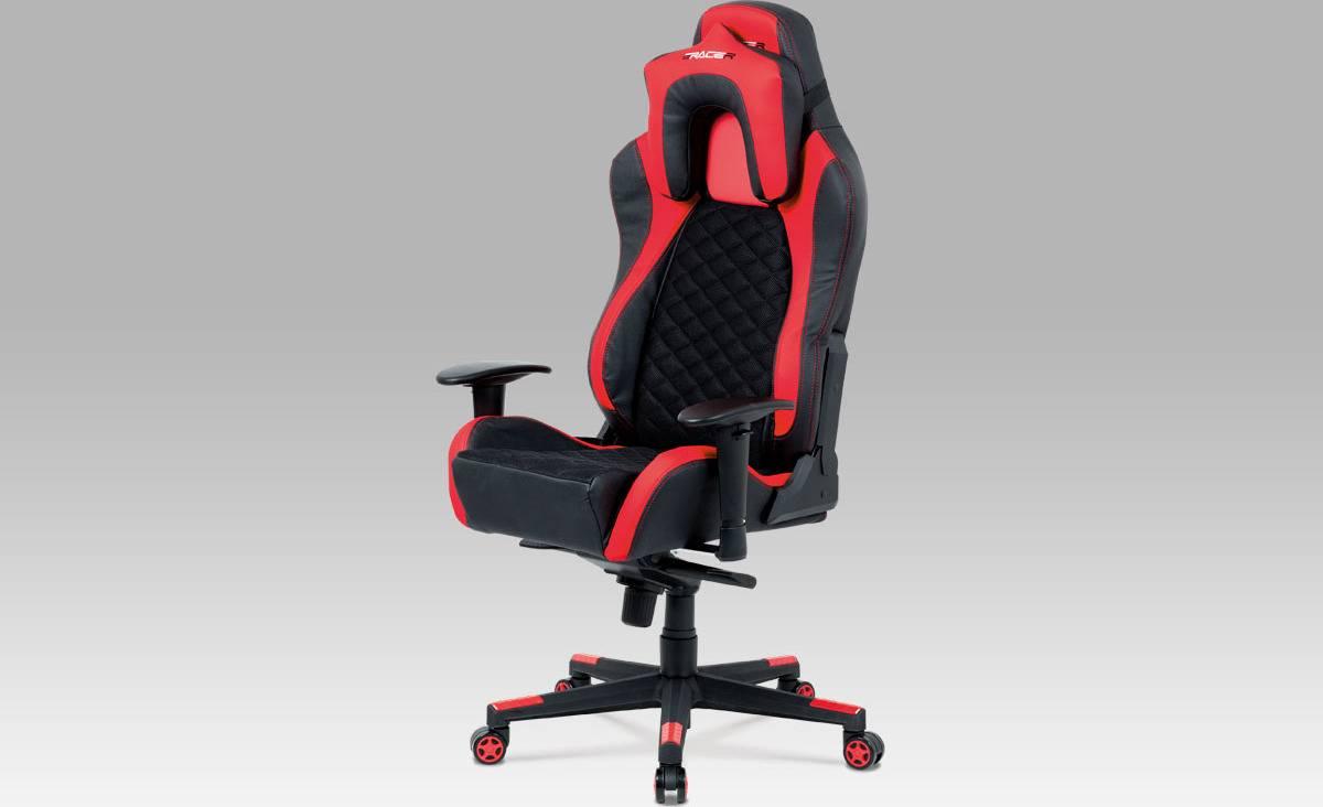 Kancelářská židle, synchronní mech., černá MESH + koženka červená / černá, plast. kříž KA-F04 RED Art
