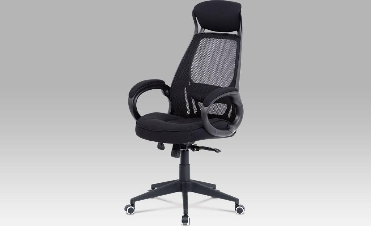 Kancelářská židle, synchronní mech., černá MESH / černá látka, plast. kříž KA-G109 BK Art