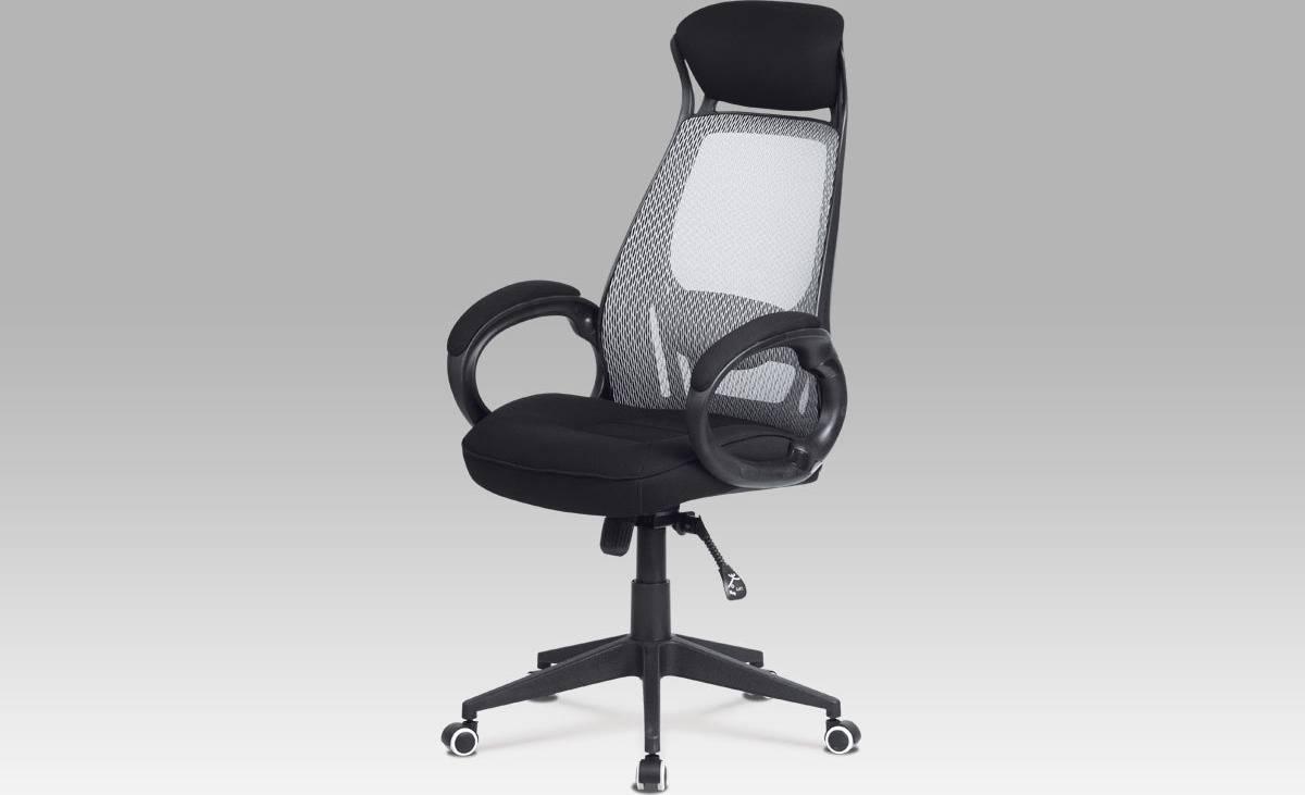 Kancelářská židle, synchronní mech., šedá MESH / černá látka, plast. kříž KA-G109 GREY Art