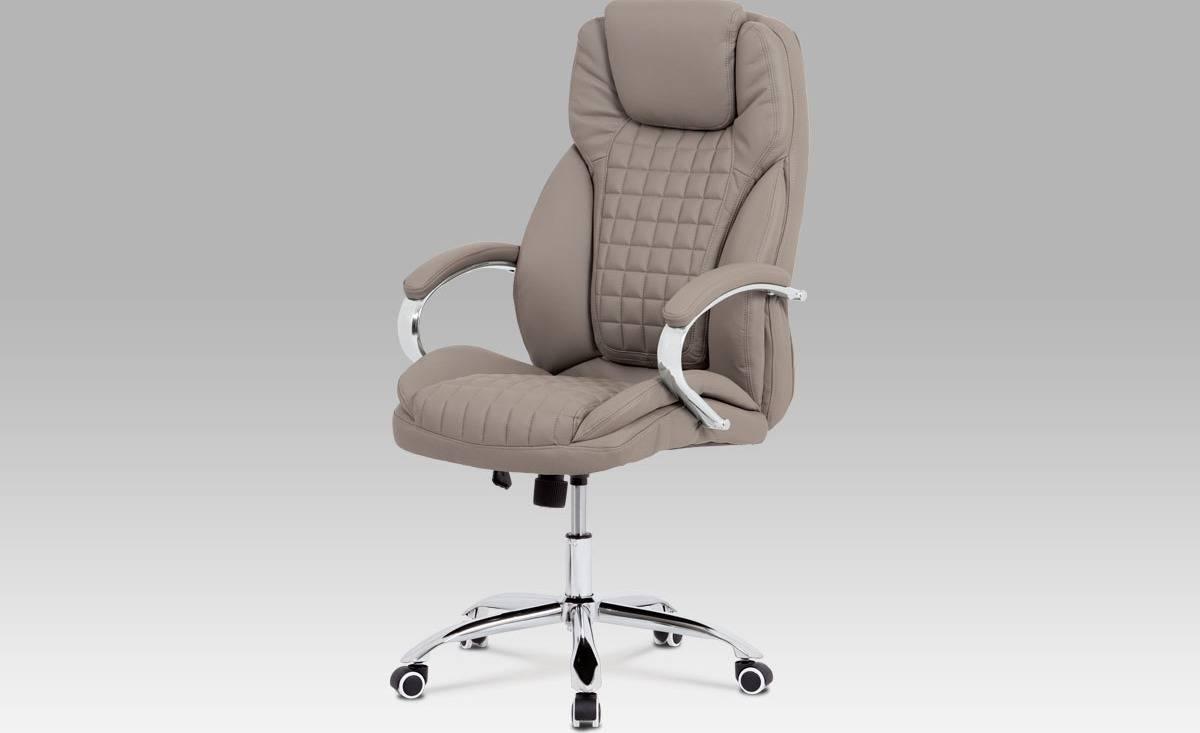 Kancelářská židle, latté ekokůže, chrom kříž, houpací mechanismus KA-G194 LAT Art