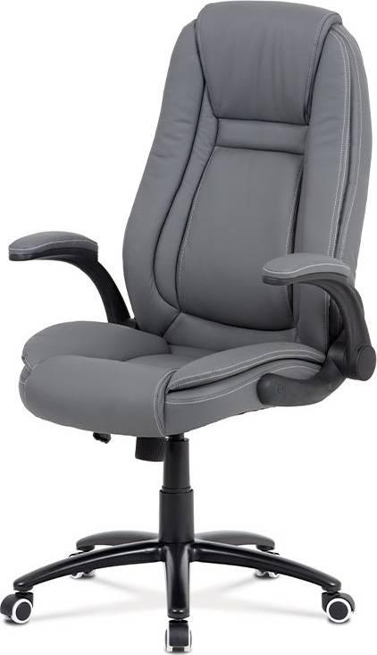 Kancelářská židle, šedá ekokůže, kříž kov černý, houpací mechanismus KA-G301 GREY Art