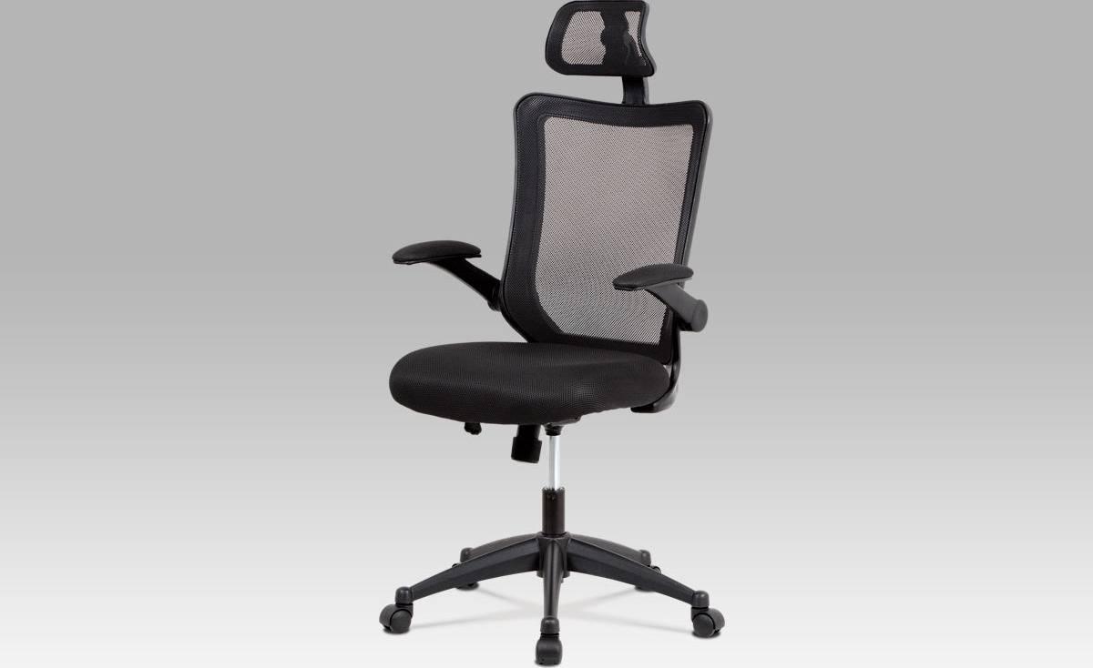 Kancelářská židle, houpací mech., černá MESH, plastový kříž KA-J813 BK Art