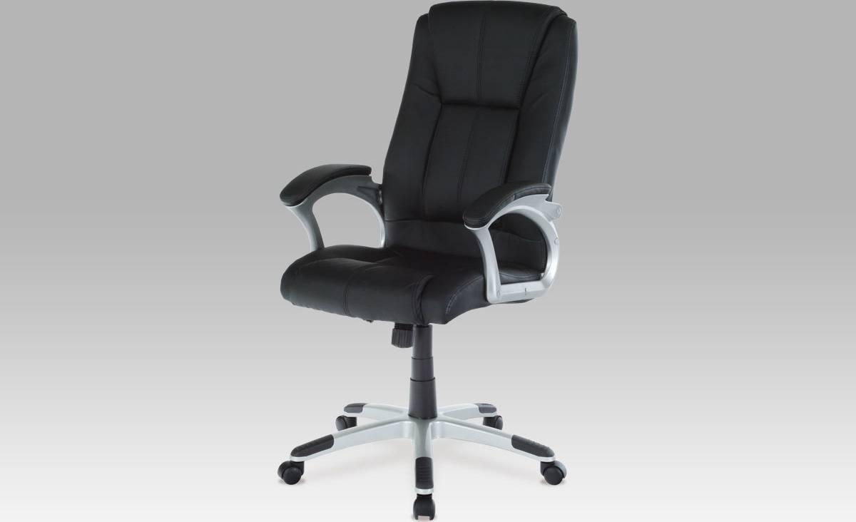 Kancelářské křeslo, koženka černá, plast. kříž, houpací mech. KA-N637 BK Art