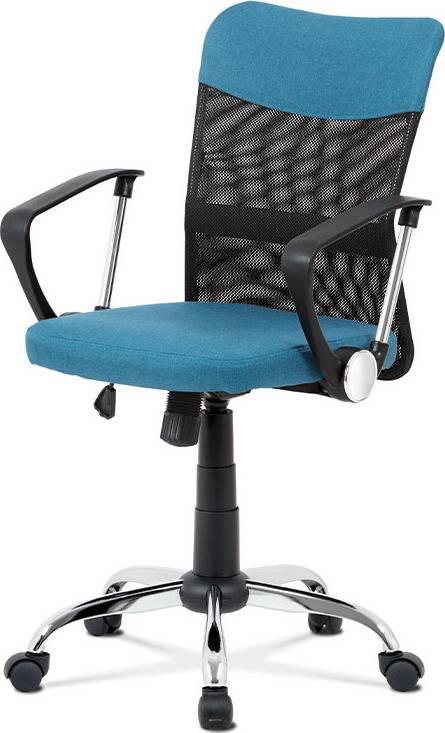 Kancelářská židle, modrá látka, černá MESH, houpací mech, kříž chrom KA-V202 BLUE Art