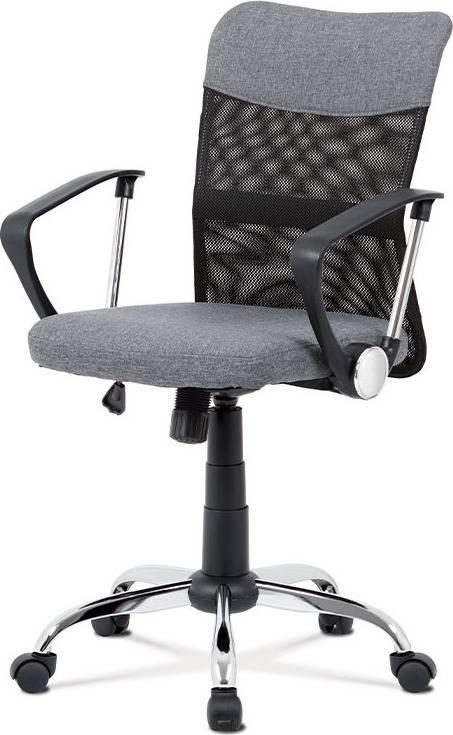 Kancelářská židle, šedá látka, černá MESH, houpací mech, kříž chrom KA-V202 GREY Art