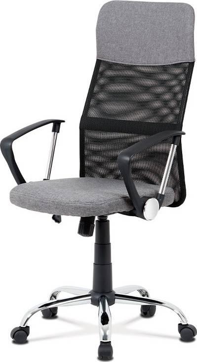 Kancelářská židle, šedá látka, černá MESH, houpací mech, kříž kovový KA-V204 GREY Art