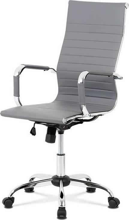 Kancelářská židle, šedá ekokůže, houpací mech, kříž chrom KA-V305 GREY Art