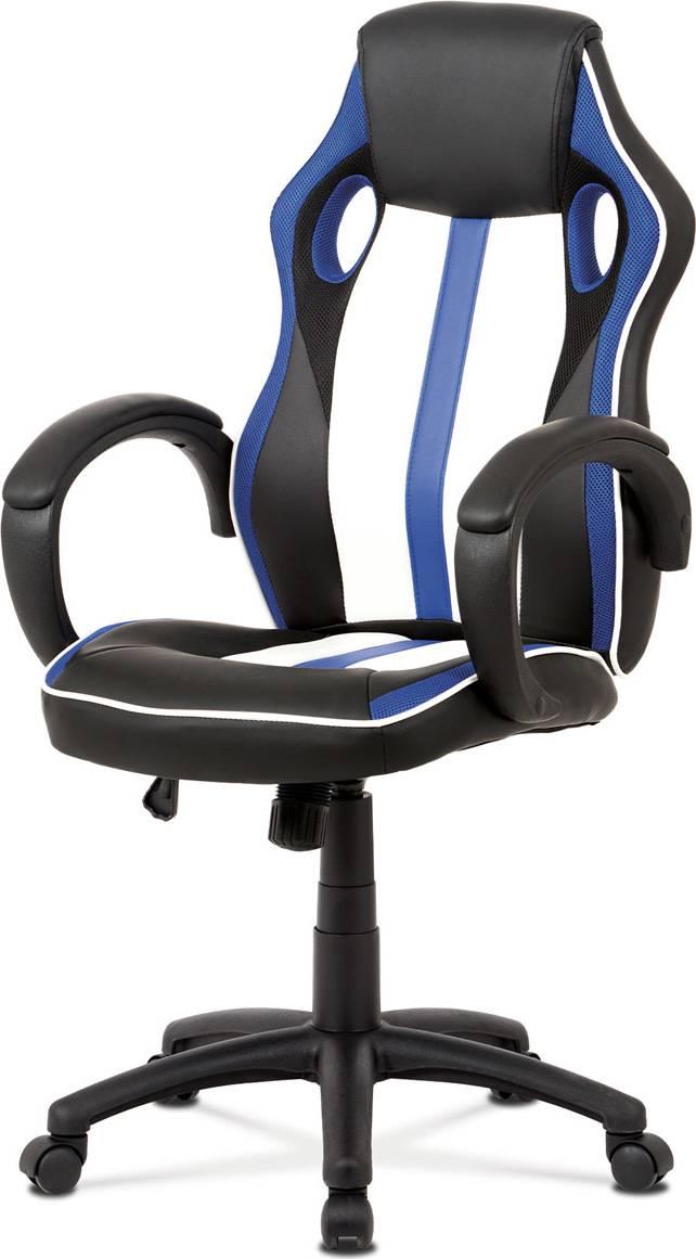 Kancelářská židle, modrá-černá ekokůže+MESH, houpací mech, kříž plast černý KA-V505 BLUE Art