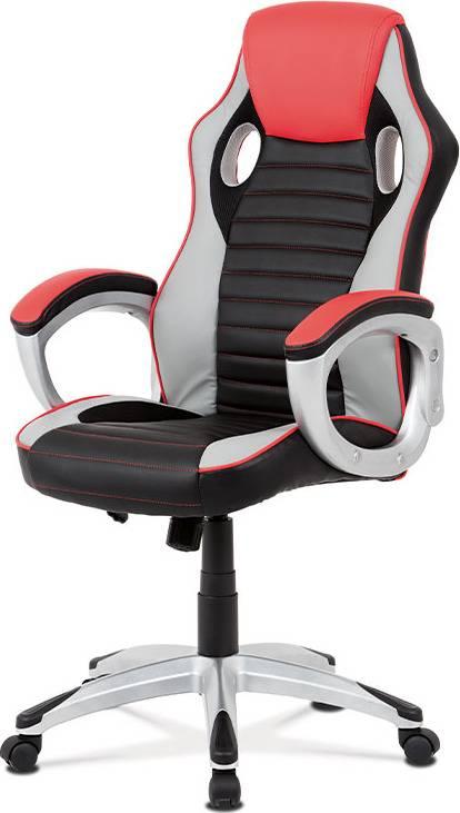 Kancelářská židle, červená-černá ekokůže, houpací mech, kříž plast stříbrný KA-V507 RED Art