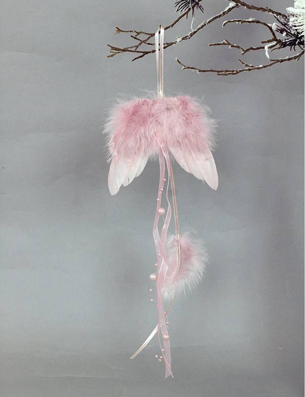 Andělská křídla z peří, barva růžová, baleno 12ks v polybag. Cena za 1 ks.