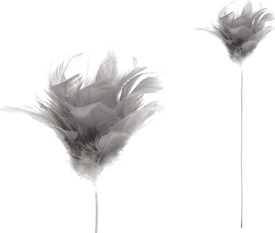 Dekorace z peří - zápich,barva šedá,  baleno 12 ks v polybag. Cena za 1 ks. AK6106-GREY Art