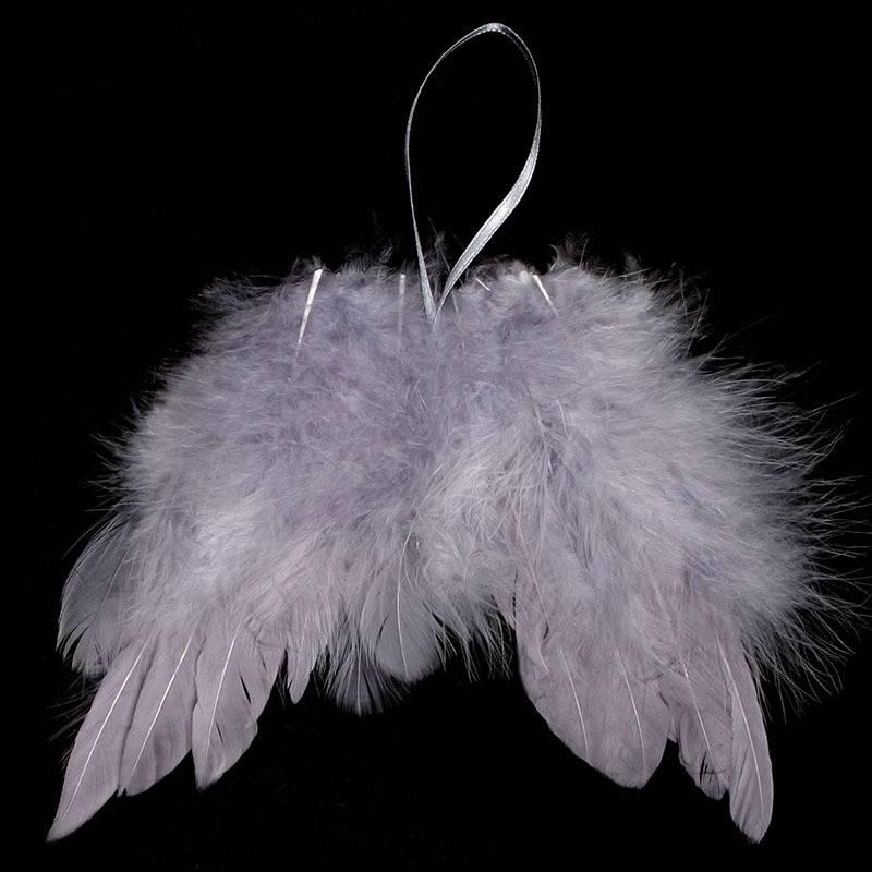 Andělská křídla z peří, barva šedá,  baleno 24 ks v polybag. Cena za 1 ks. AK6108-GREY Art