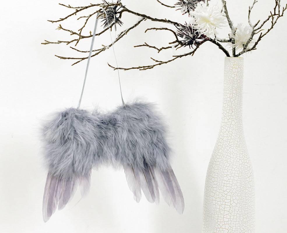 Andělská křídla z peří , barva šedá,  baleno 1 ks v polybag. Cena za 1 ks. AK6110-GREY Art