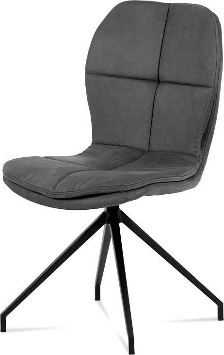 """Jídelní židle, šedá látka """"COWBOY"""", kov černá HC-710 GREY3 Art"""