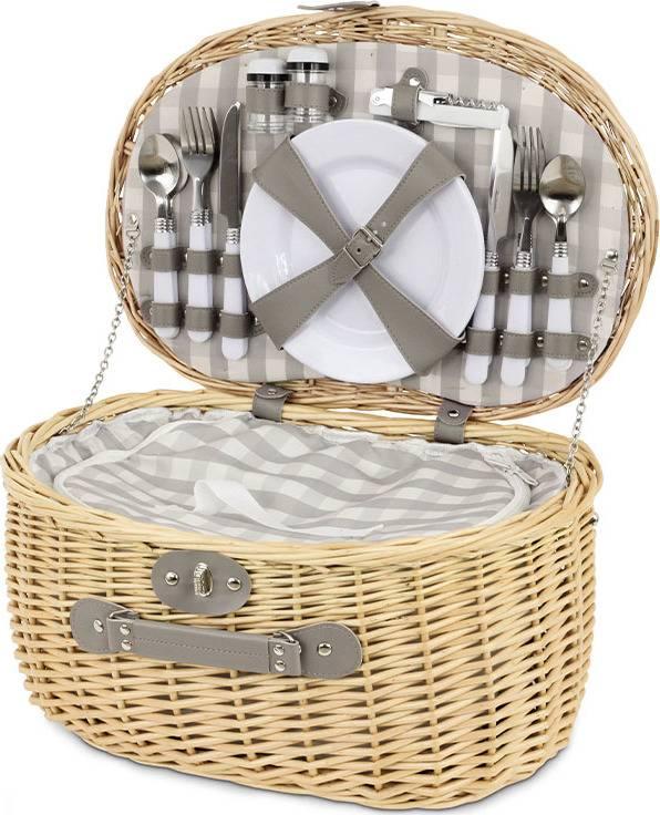 Piknikový koš z vrbového proutí s chladícím prostorem, vybavený pro 4 osoby PN-1057 Art