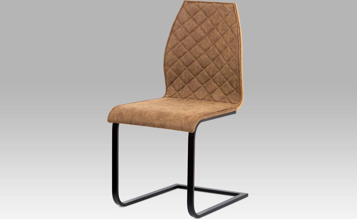 """Jídelní židle, látka """"COWBOY"""" hnědá, překližka dub, kov matná černá WE-5024 BR3 Art"""