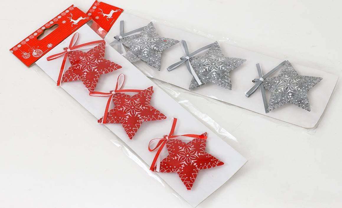 Vánoční  textilní dekorace , hvězdička,  červená, šedá, cena za  jedno balení AC797126 Art