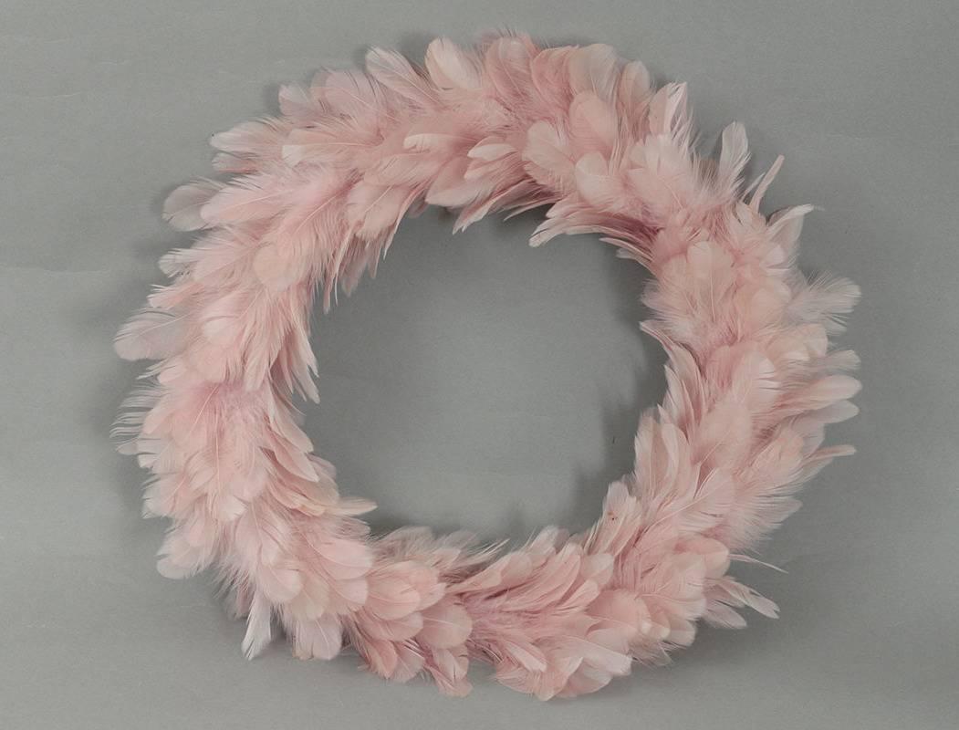 Věnec z peří, barva růžová AK6114-PINK Art