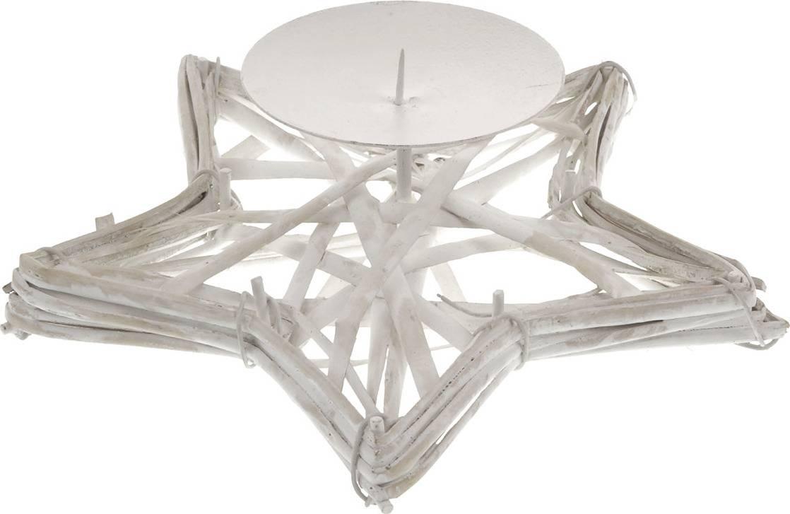 Proutěný svícen - hvězda - barva bílá AN002-WH Art