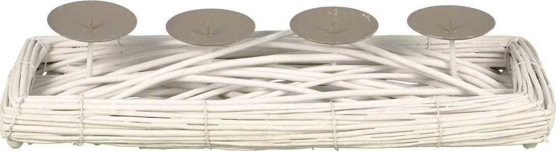 Proutěný svícen - obdélník - barva bílá, s bodci na svíčku, adventní AN006-WH Art