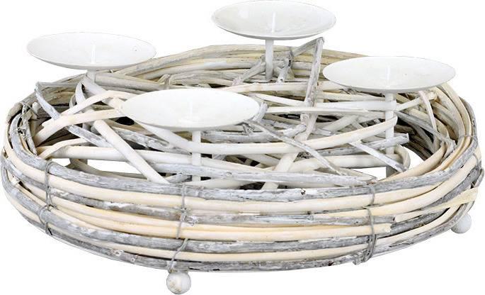 Svícen proutí, barva antique bílá, s bodci na svíčku, adventní AN804589 Art