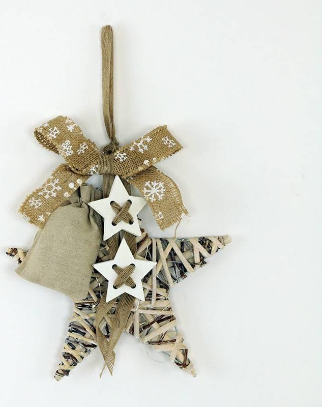 Hvězda z proutí s dekorací a LED světlem,barva antique bílohnědá AN804671 Art
