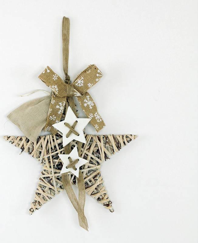 Hvězda z proutí s dekorací a LED světlem,barva antique bílohnědá AN804688 Art
