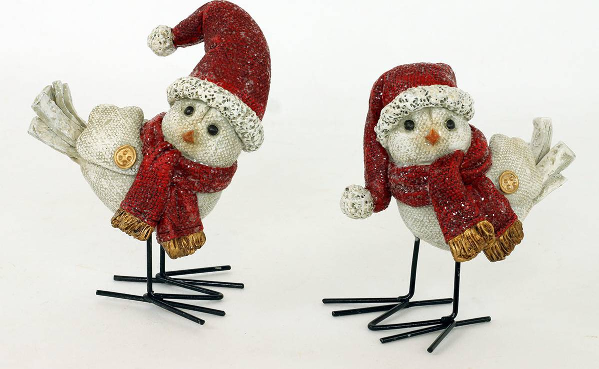 Ptáček, polyresinová dekorace s bílými glitry AND134 Art