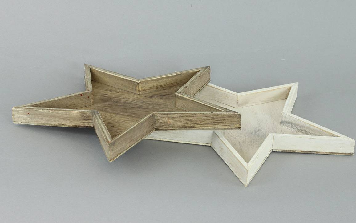 Hvězdička dřevěná dekorační, mix šedivé a bílé barvy. KLA255 Art