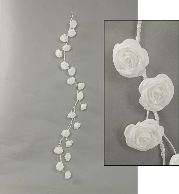 Girlanda z pěnových růžiček, barva bílá , umělá dekorace PRZ2841 Art