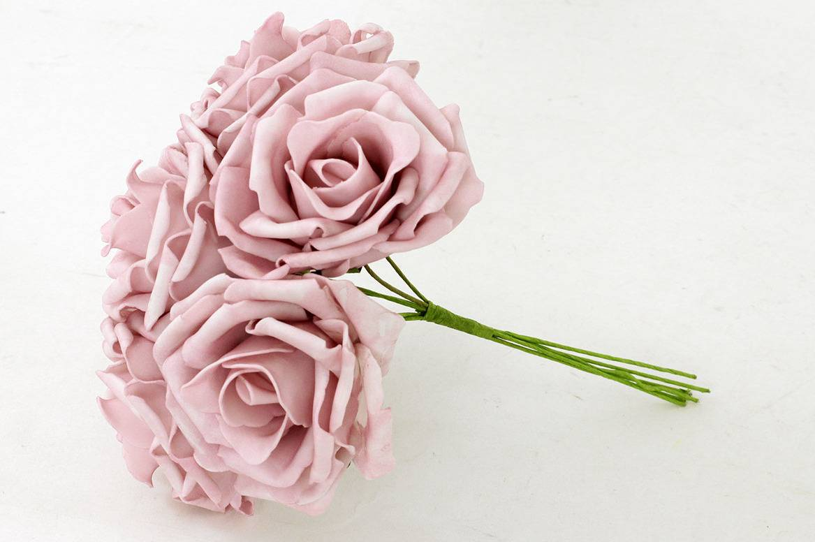 Puget ze 6kusů pěnových růžiček, barva lila, umělá dekorace PRZ2865 Art
