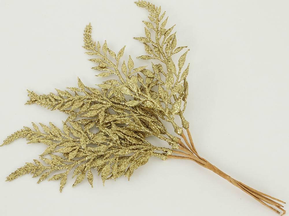 Větvička kapradí glitter - zlatá - 6ks
