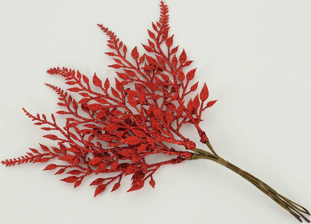 Větvička kapradí glitter - červená - 6ks