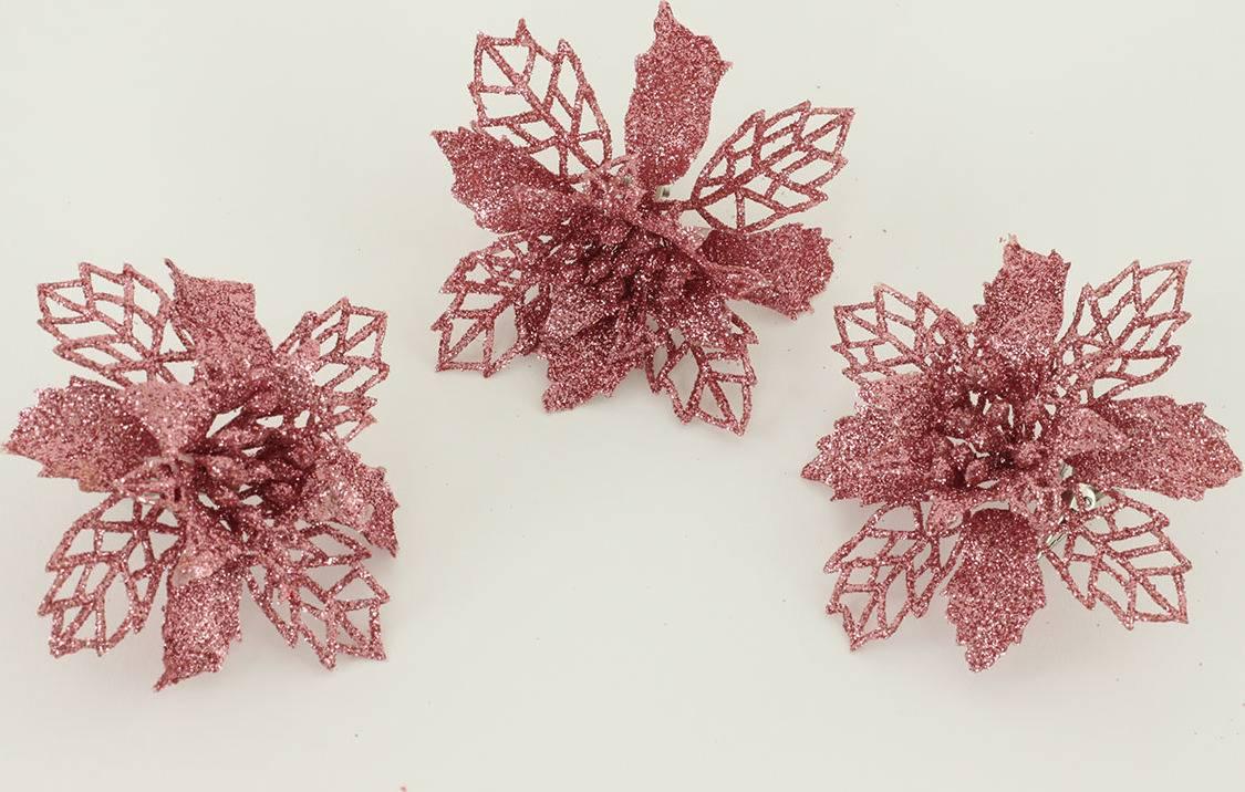 Květina růžová dekorační na klipu. Cena za 3kusy/1 polybag. VCA011 PINK Autronic