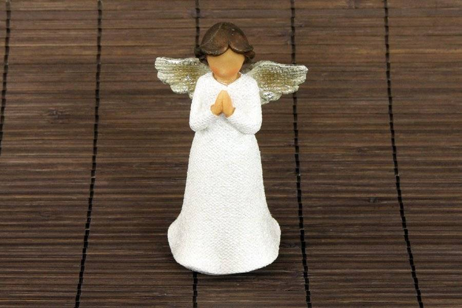 Anděl, polyresinová dekorace, barva bílá glitry AND145 Art