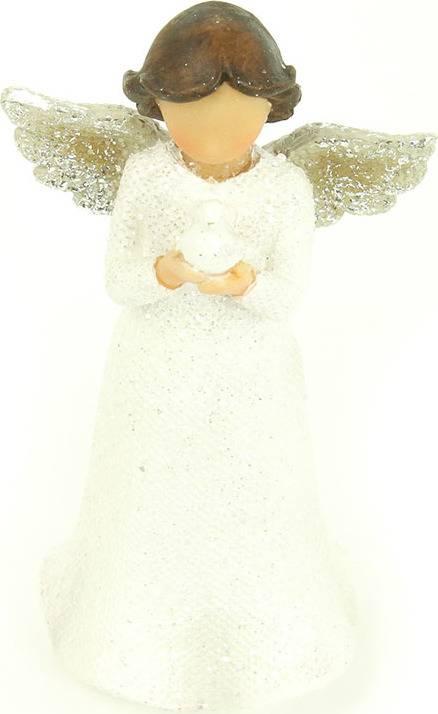 Anděl, polyresinová dekorace, barva bílá glitry AND147 Art