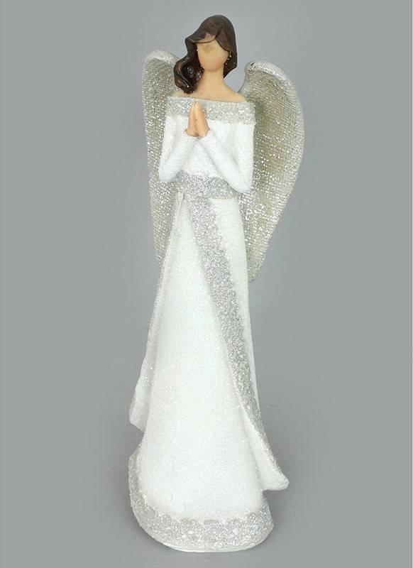 Anděl, polyresinová dekorace, barva bílo-stříbná s  glitry AND151 Art