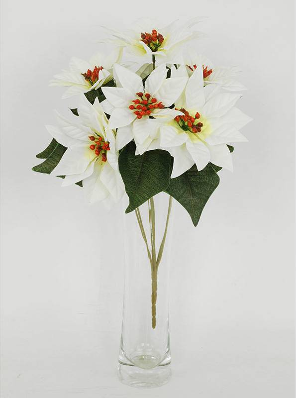Umělá květina - puget vánočních růží,poinsécek bílých (7 hlav) UK-0031 Art